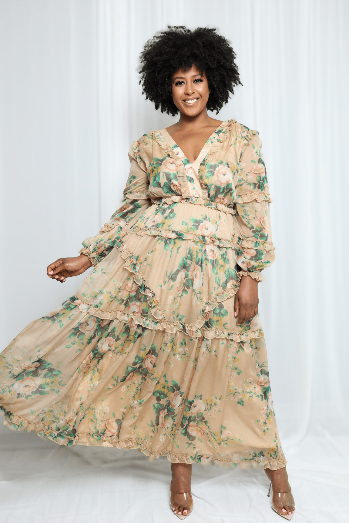 Ready For Spring Green Flower Maxi Dress