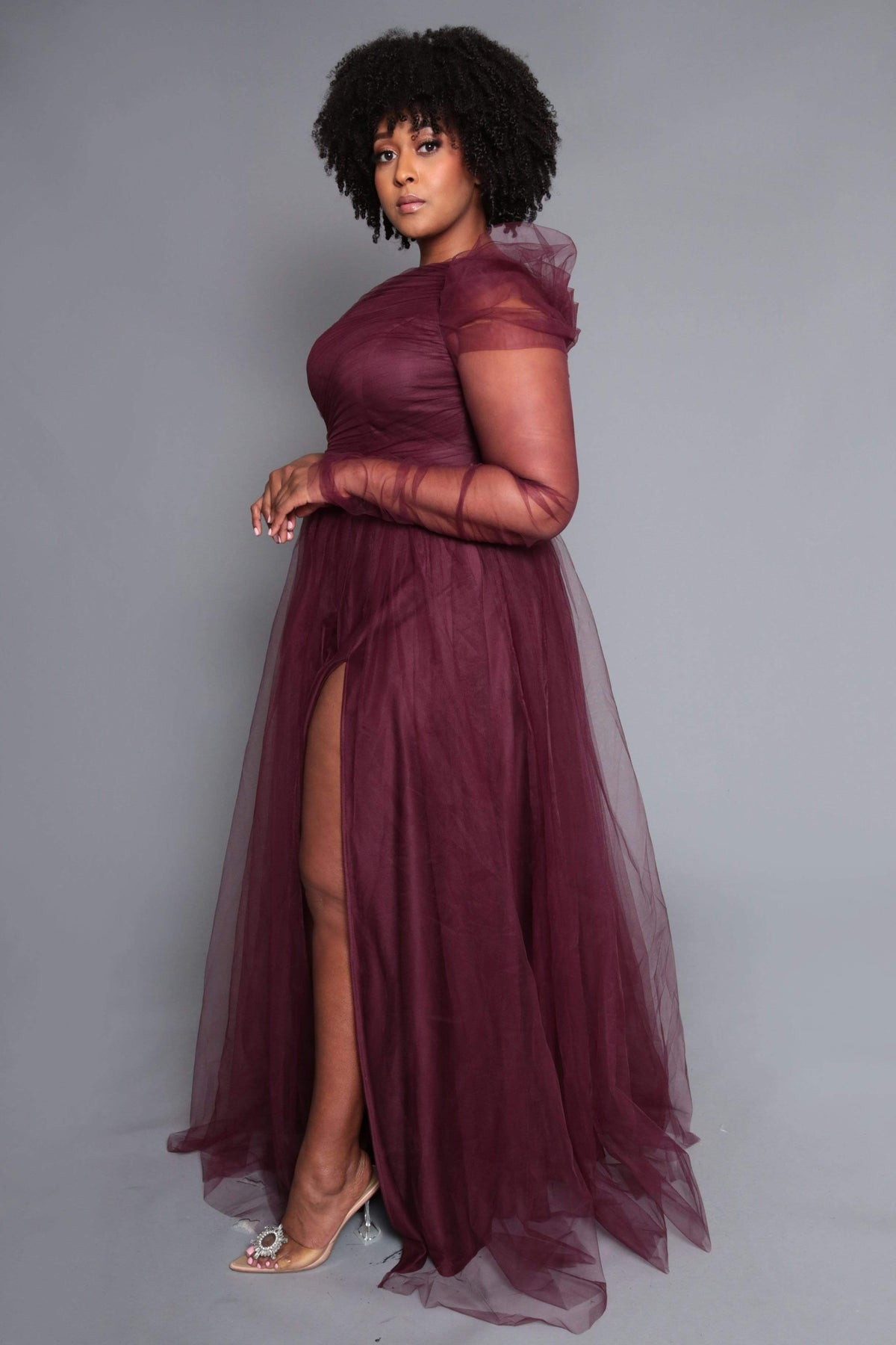 One Shoulder Maxi Slit Dress Small to 4XL (Final Sale)