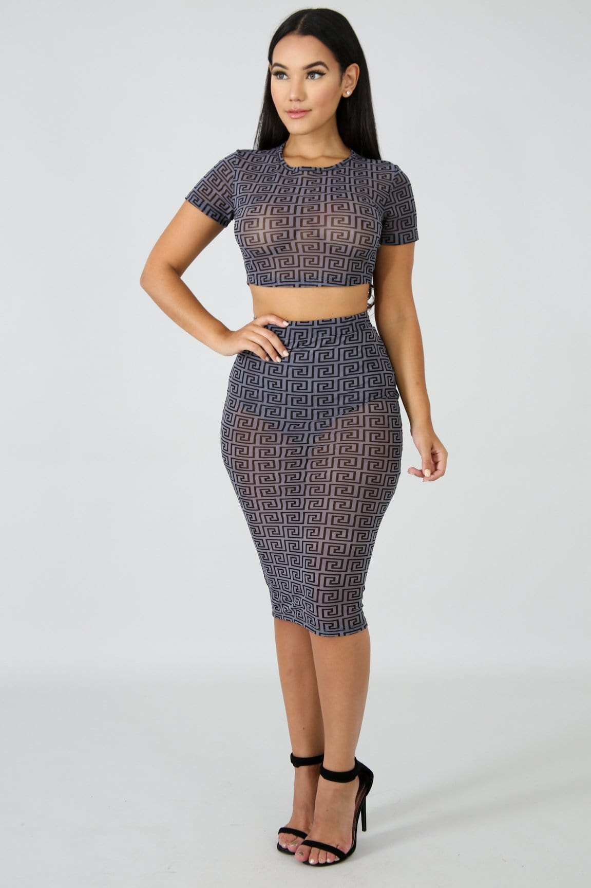 Dazzling Shear Midi Skirt Set