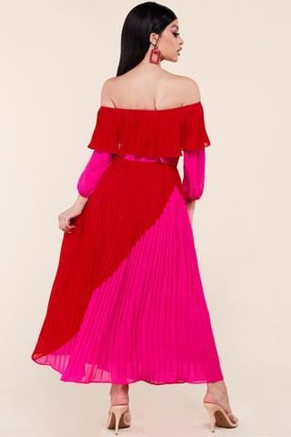 Andrea Pleated Maxi Dress (SML)
