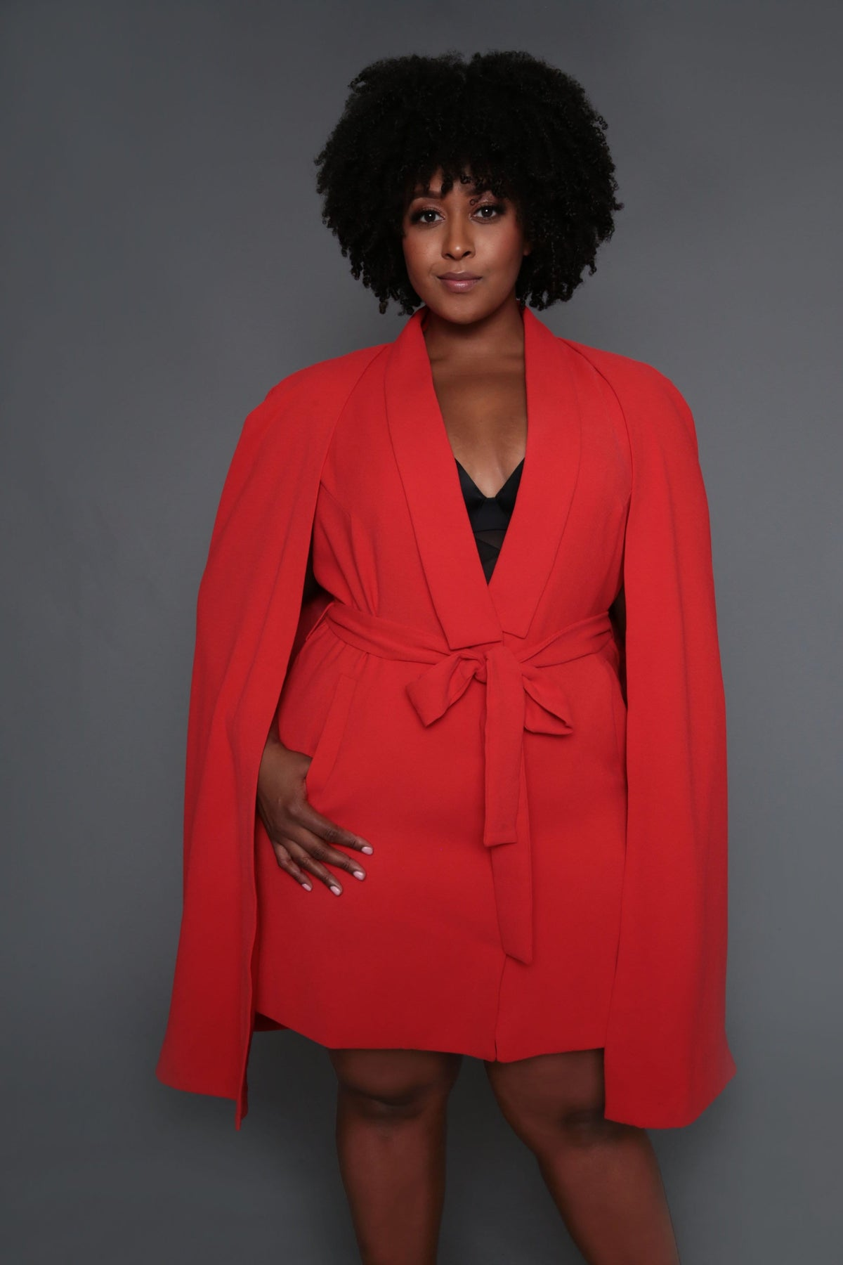 Belted Cape Blazer Dress