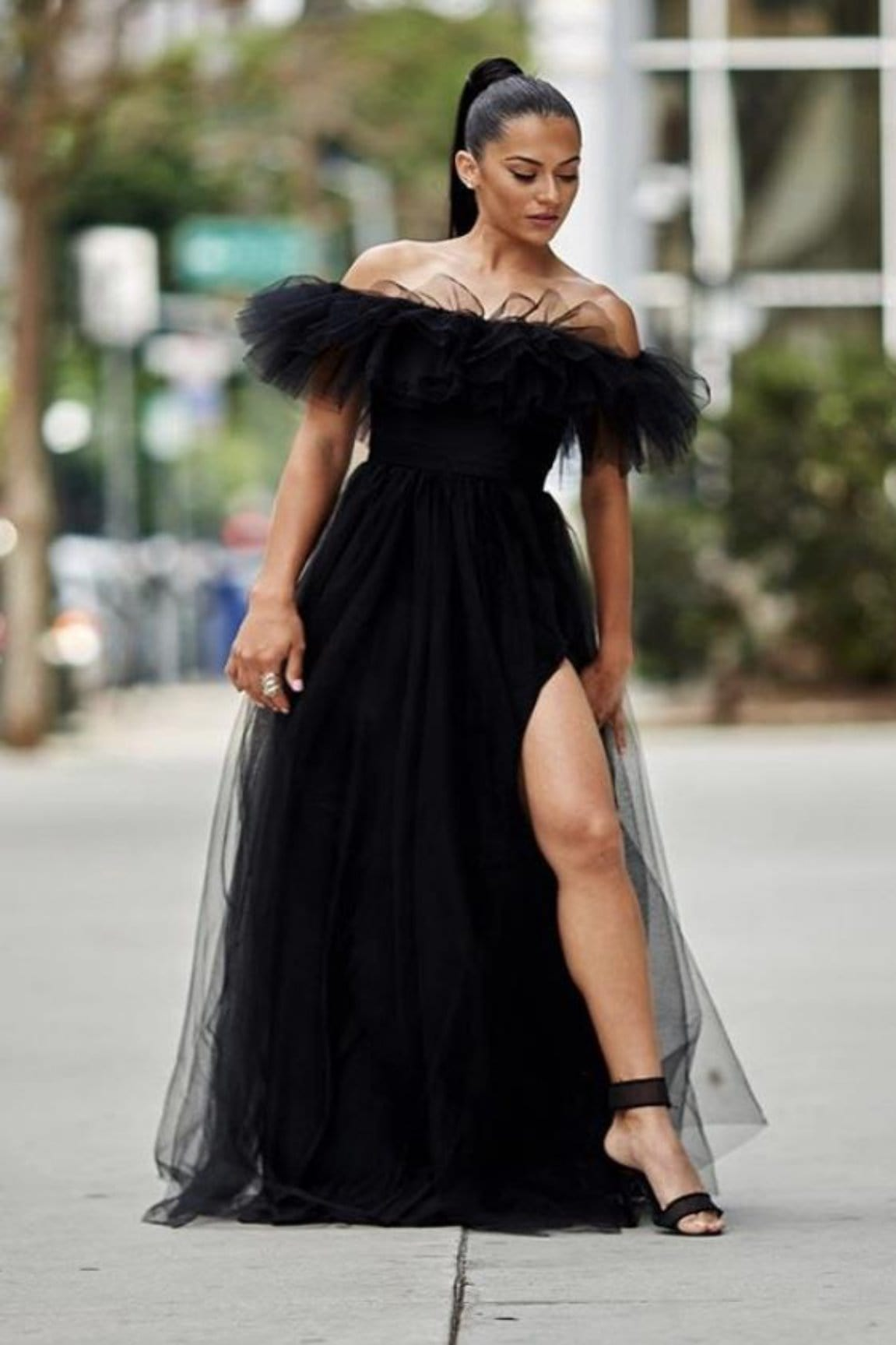 Jen Off Shoulder Tulle Maxi [FINAL SALE]