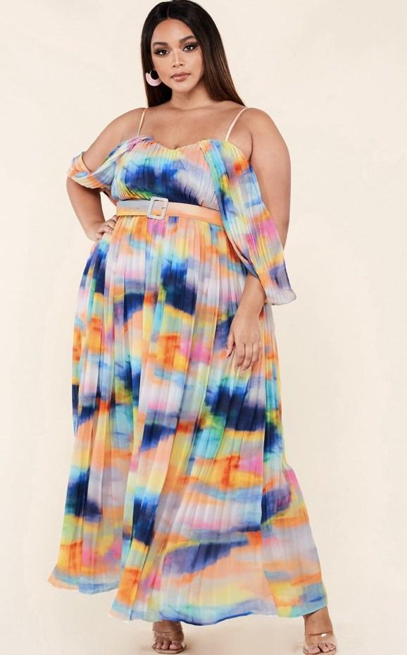 Candy Color Pleated Maxi Dress (curvy)