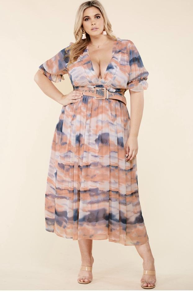 Heavenly Tie Dye Maxi Dress (Plus)