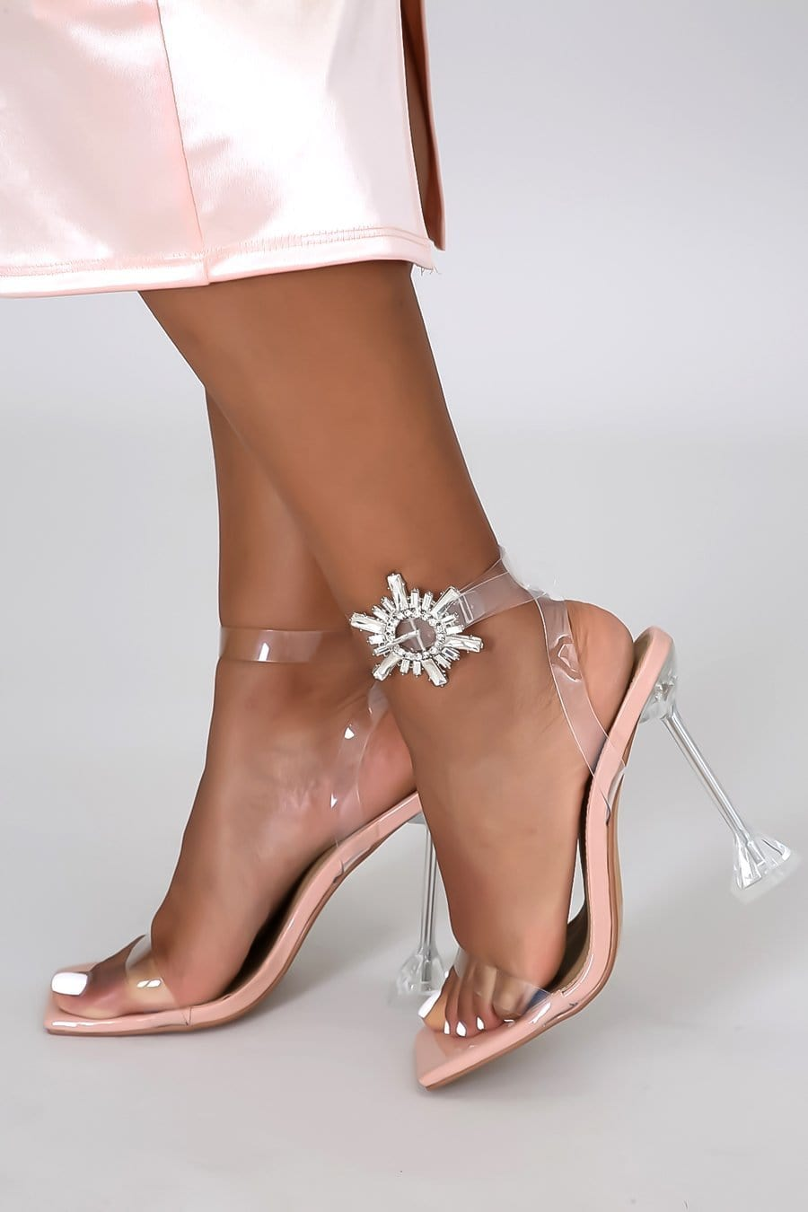 Embellished Square Toe Clear Ankle Strap Heel (Nude)