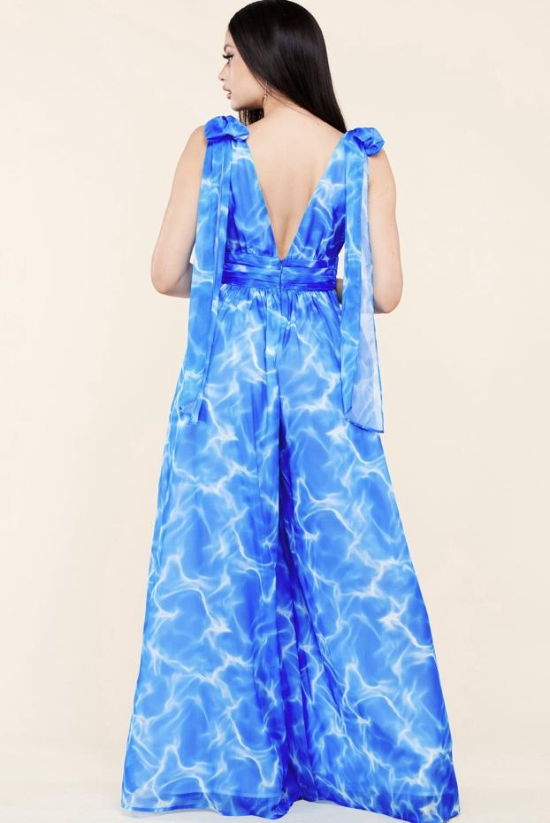 Crystal-Clear Water Palazzo Jumpsuit