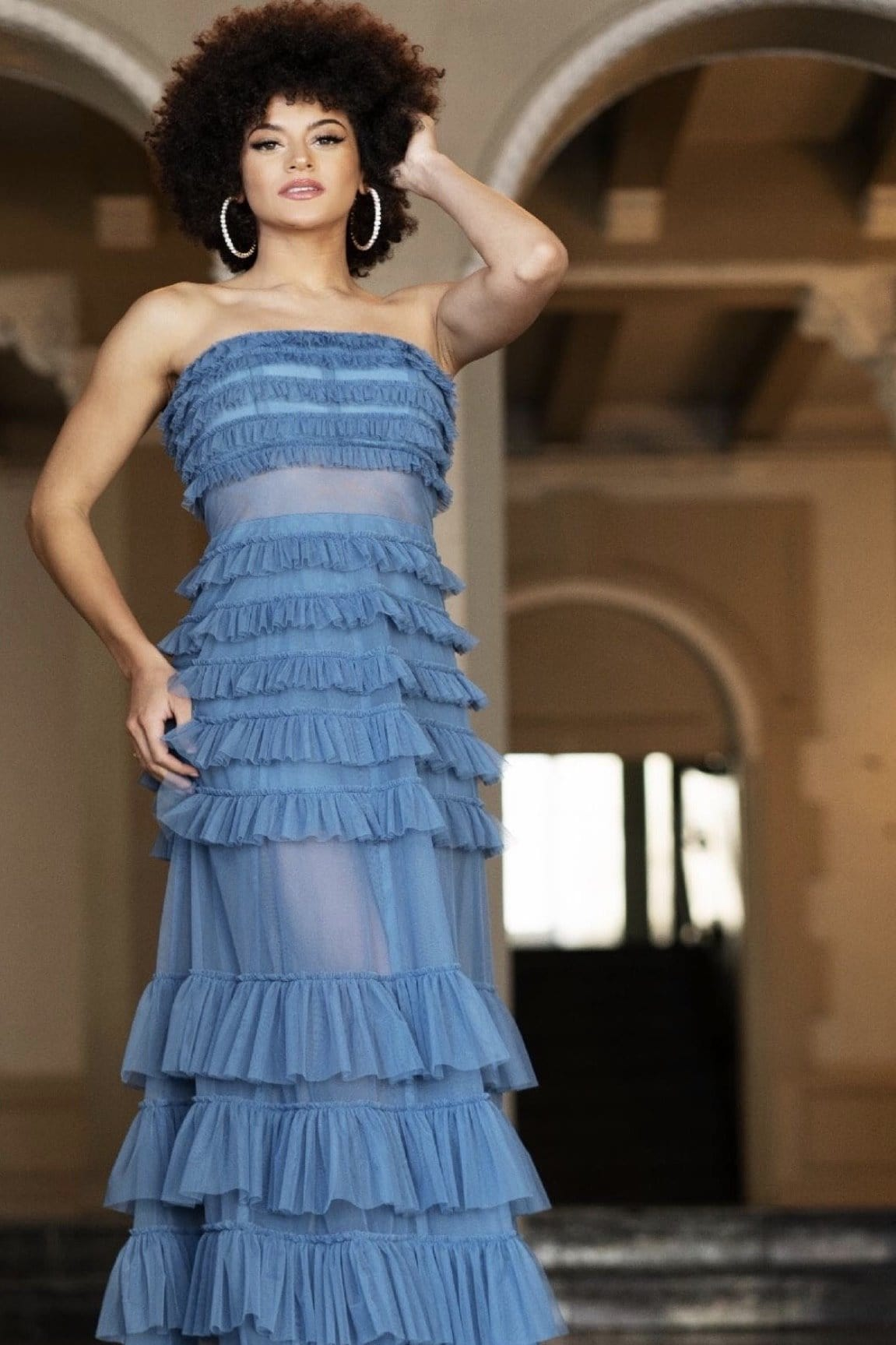 Tiered Ruffle Maxi Dress (Perry Blue)