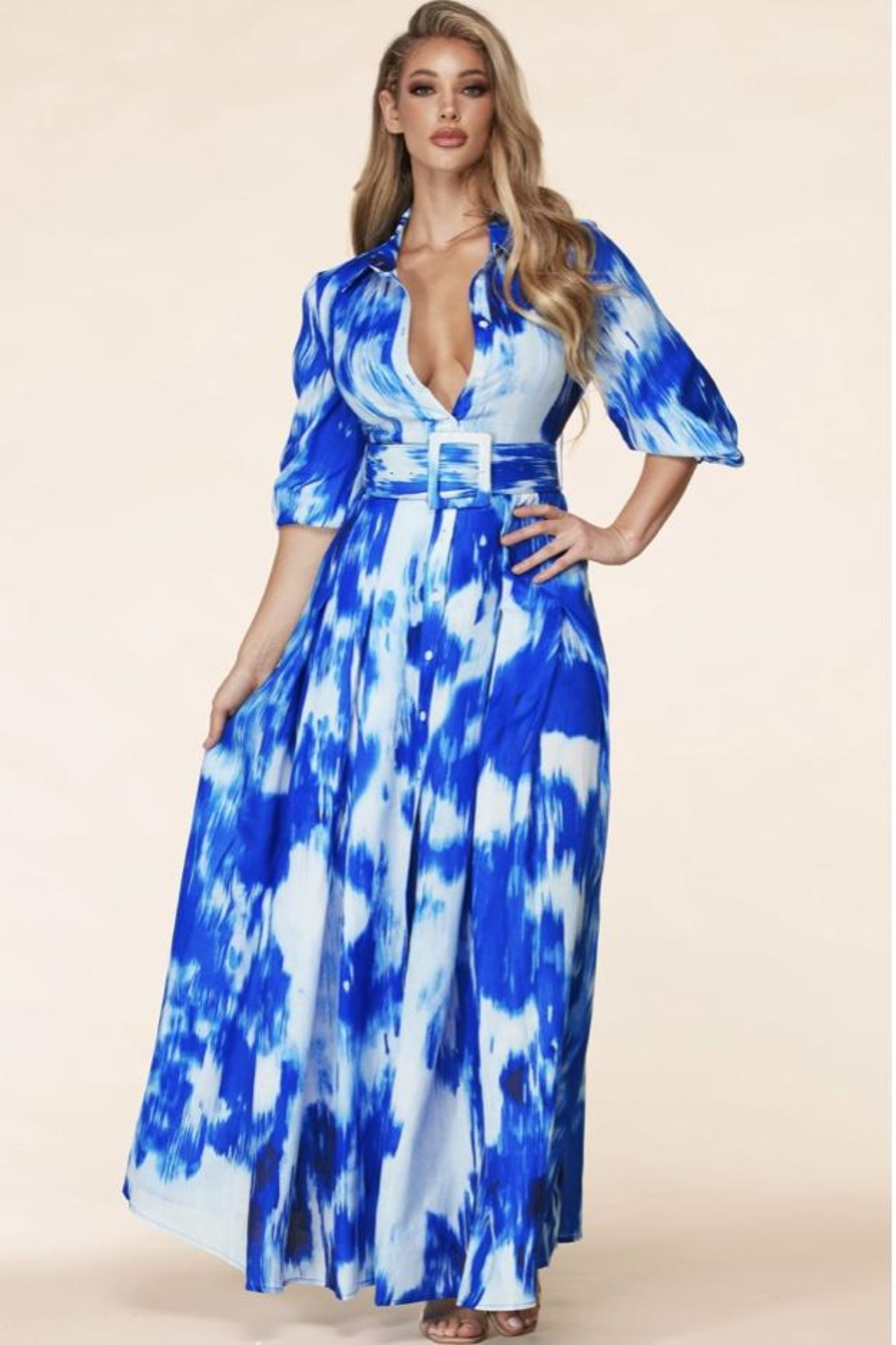 Jewell Water Color Maxi Dress