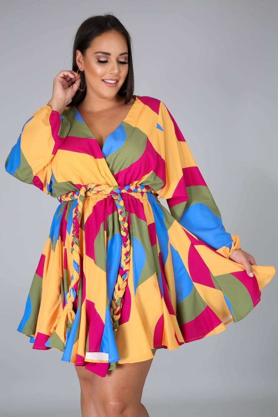 Red/Yellow Multi-Geo Pattern Mini Dress (Curvy)