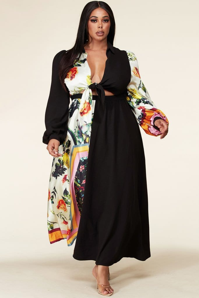 Two-Tone Tie-Front Maxi Dress (Small to 3XL)