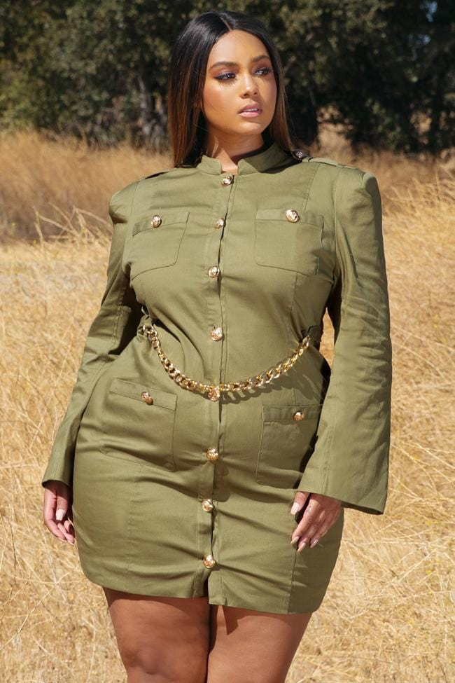 Mona Military Style Mini Dress