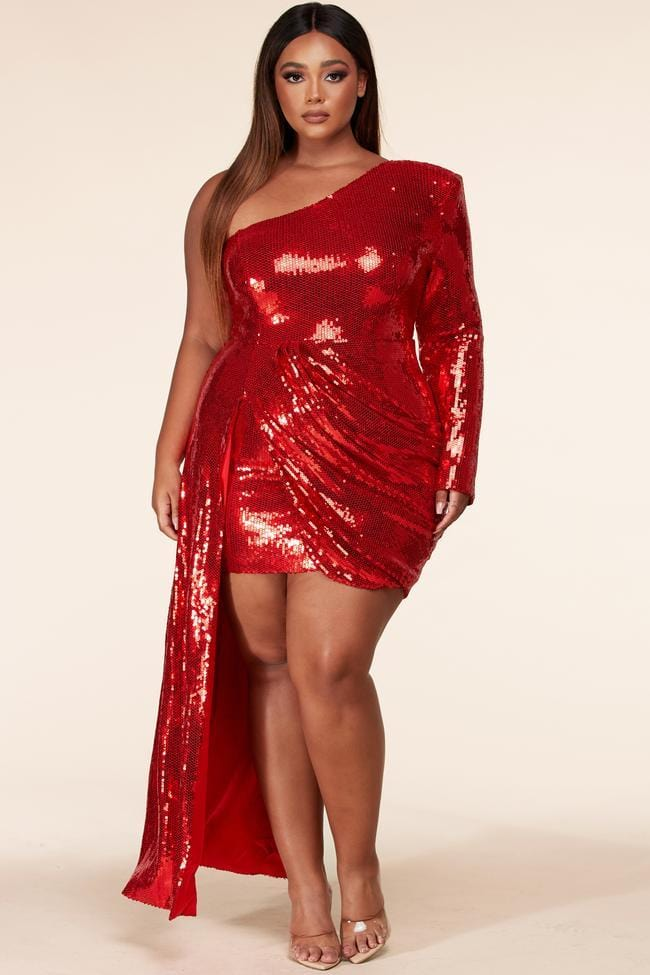 Sadia Red Sequin Evening Dress