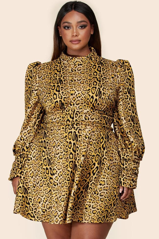 Zara Leopard Print Mock Neck Mini Dress (Curvy)