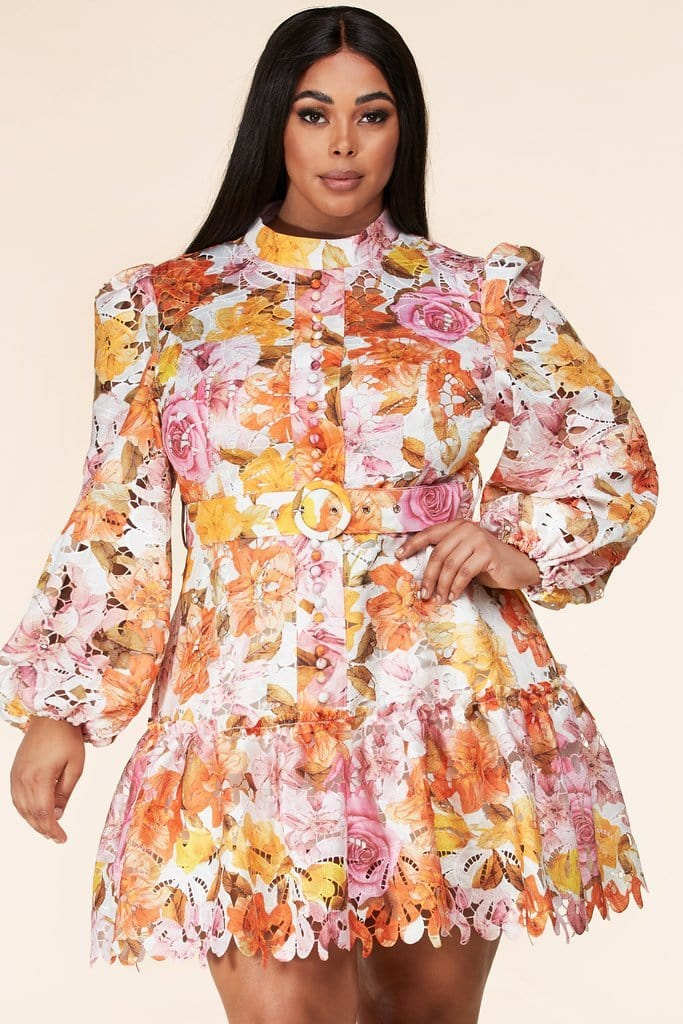 Be You Orange/Pink Floral Dress
