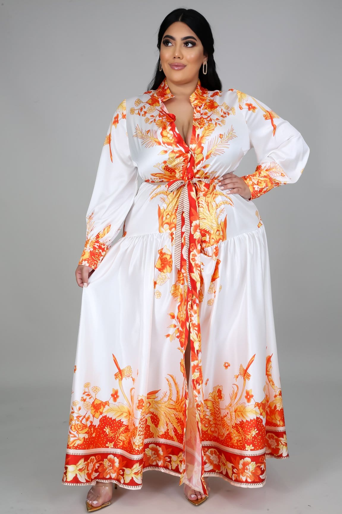 Nene Long Sleeve Maxi Dress (Curvy)
