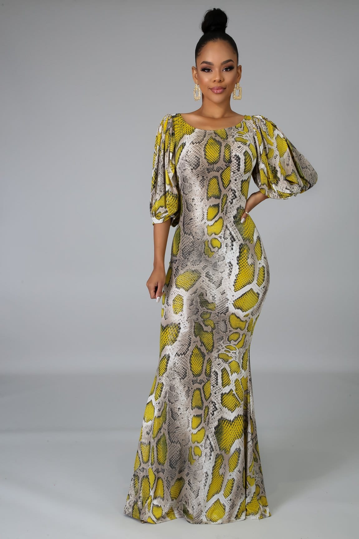 Puff Sleeve Maxi Dress (Regular)