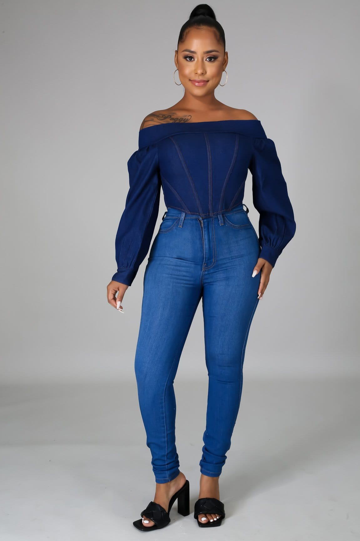 Riri Off Shoulder Denim Top