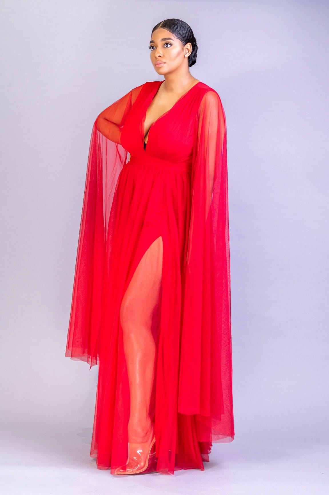 Kadijah Double Side Slit Winged Gown