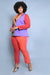 Color Block Blazer Pant Set (Small to 3XL)