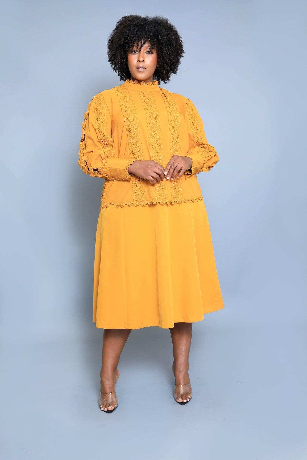 Kristal Mustard Two-piece Skirt Set