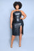 Beaded Black Faux Leather Midi Dress (Small to 3XL)