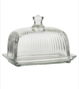 Mantequillera en cristal con pomo - Glass butter box with knob