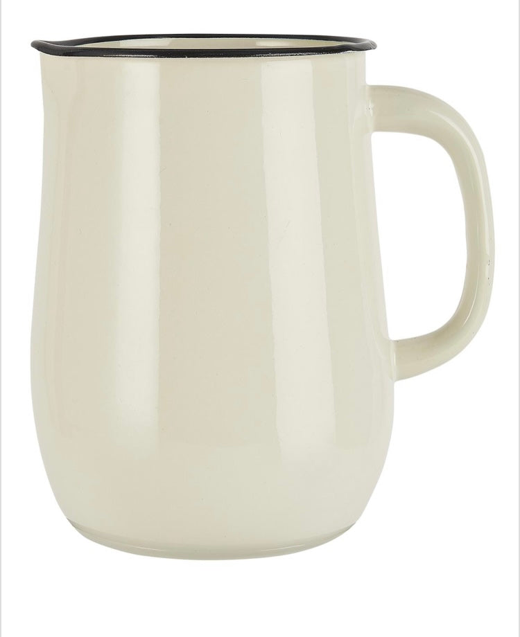 Jarra para agua en metal esmaltado color crema- Pitcher enamel buttercream