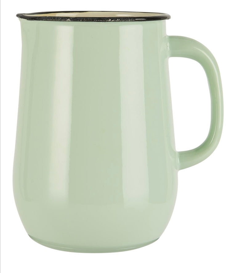 Jarra para agua en metal esmaltado color verde claro con interior color crema- Pitcher enamel light green w/cream colour inside