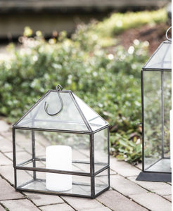 Linterna en cristal y metal con gancho - Glass and metal lantern with a hook