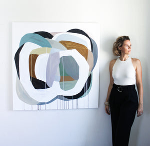 Rebekah Andrade with abstract painting