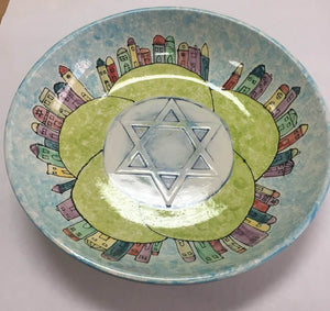 "Big Serving Bowl with Star of David 12.5"" D"