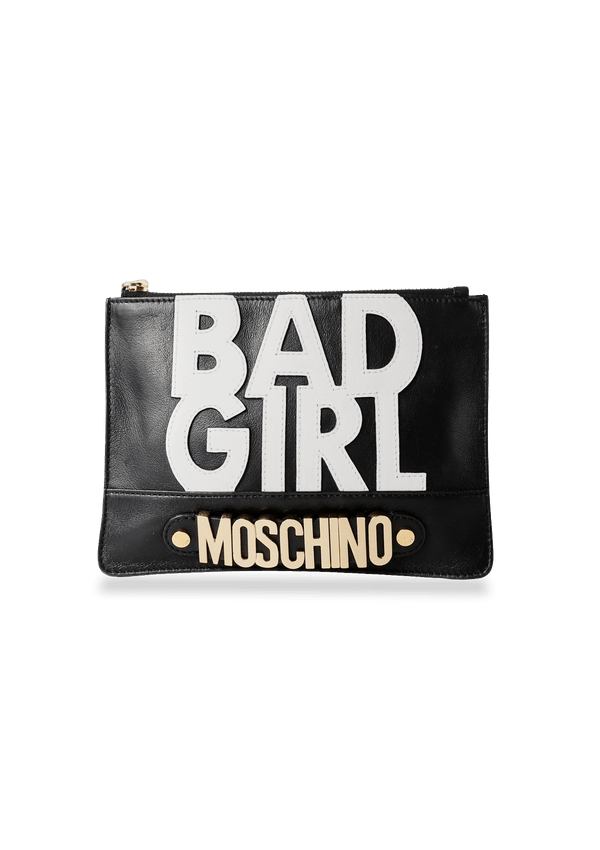 PRINTED LEATHER CLUTCH MOSCHINO PRETO ORIGINAL