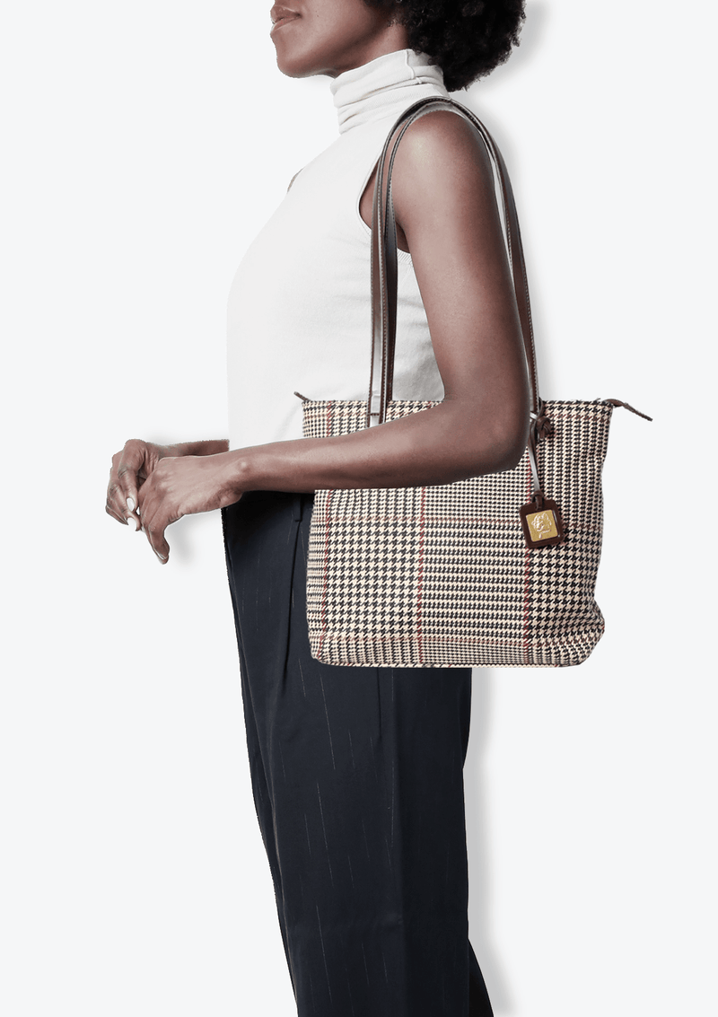 LEATHER TRIMMED HOUNDSTOOTH BAG