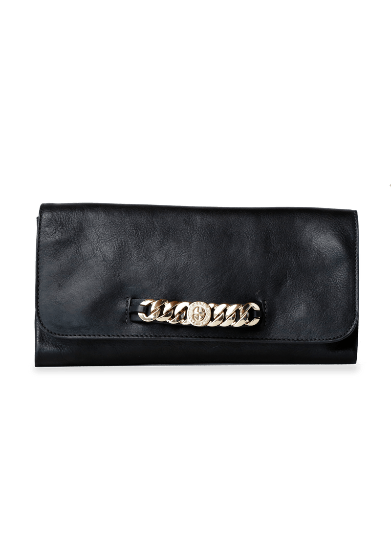 LEATHER CHAIN-LINK CLUTCH
