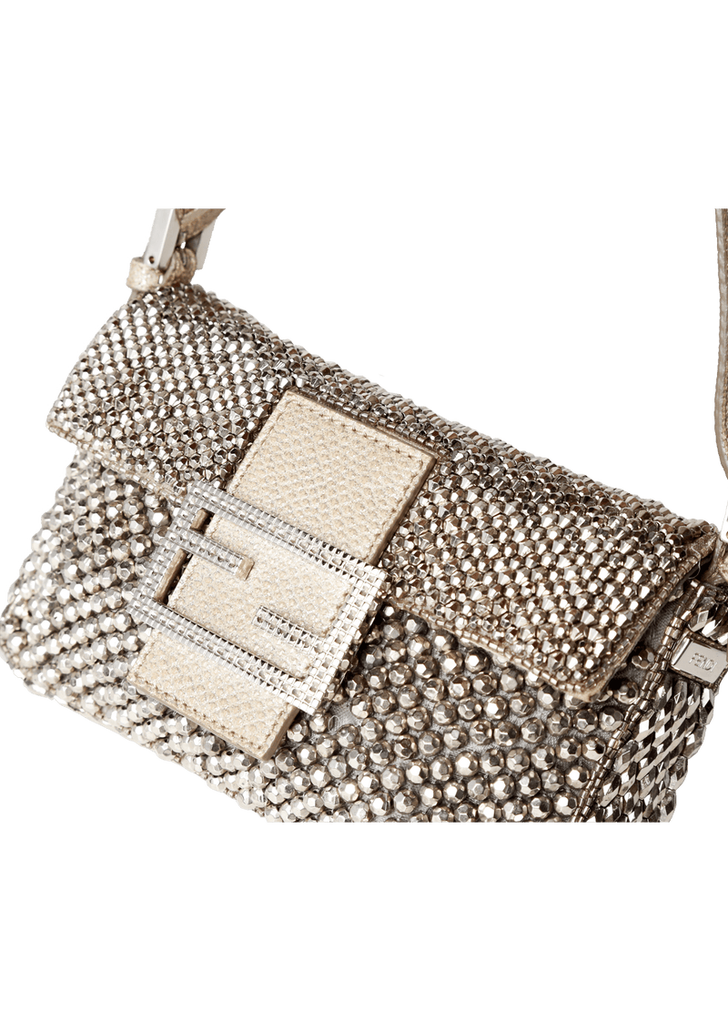 BEADED PALLADIUM MICRO BAGUETTE FENDI PRATA ORIGINAL