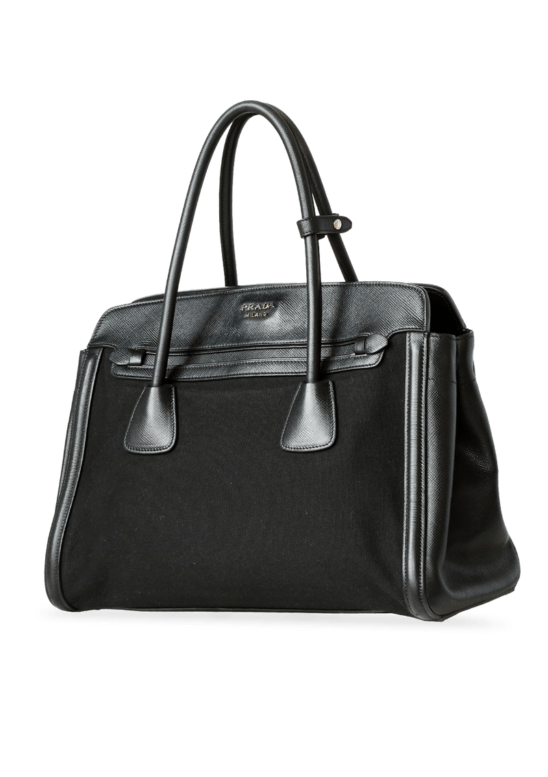 LEATHER TRIMMED TESSUTO SHOPPING TOTE