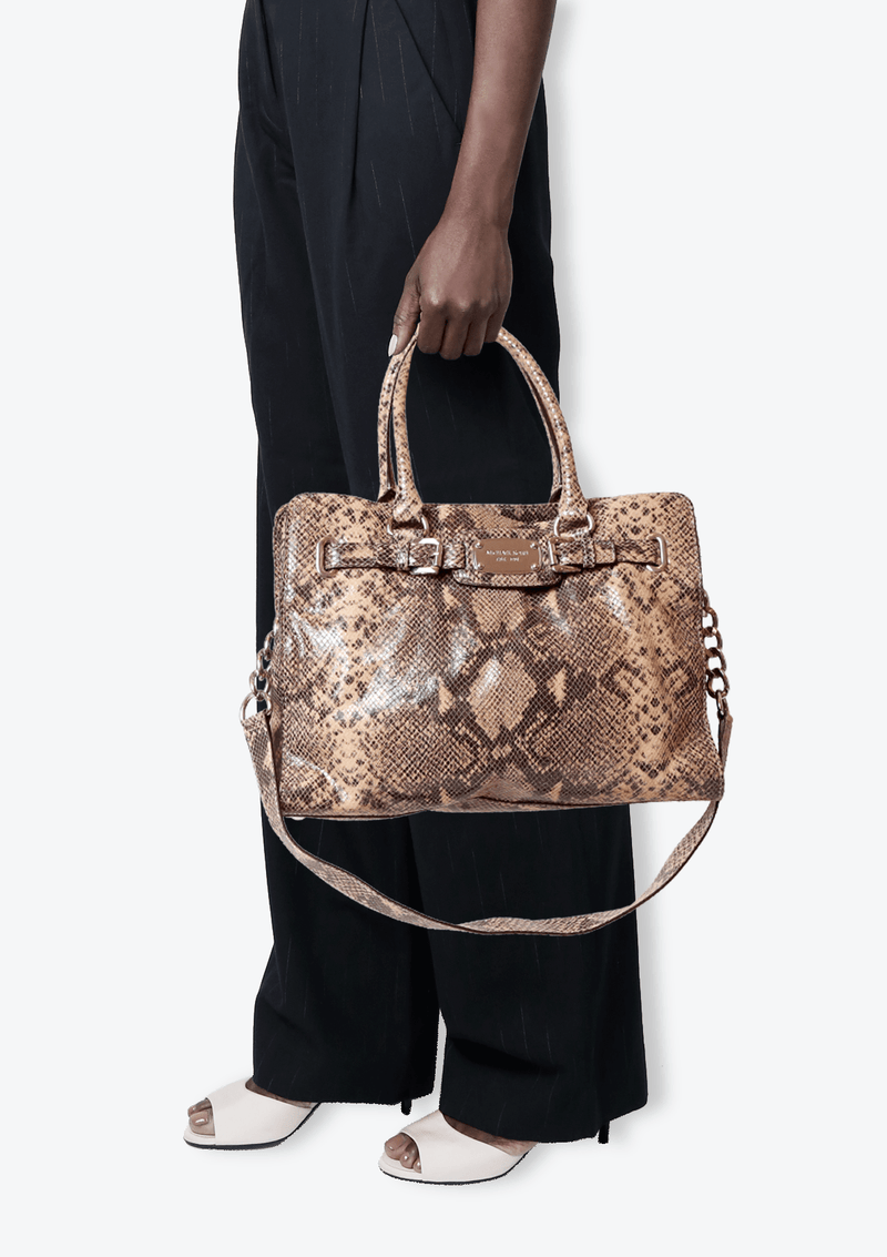EMBOSSED LEATHER SATCHEL