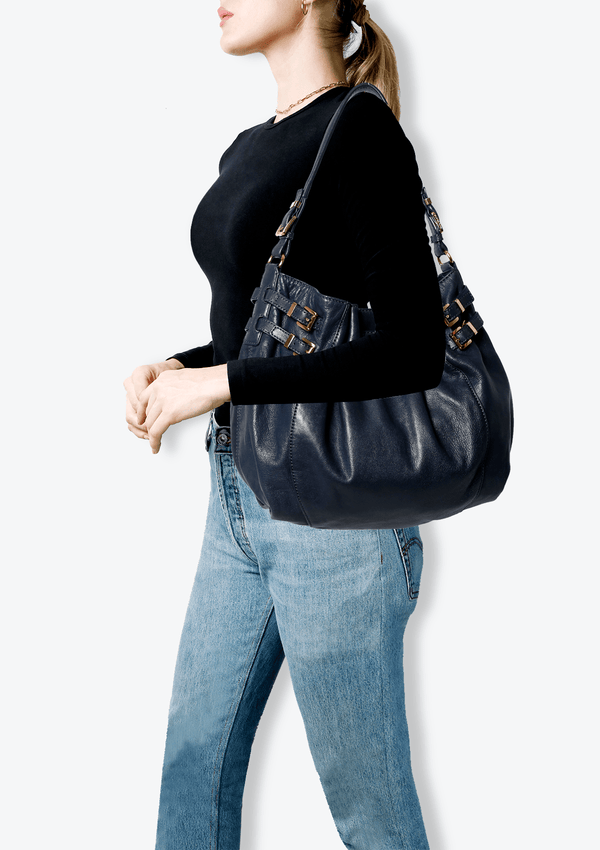 BOLSA EDIE HOBO BAG MICHAEL KORS AZUL ORIGINAL