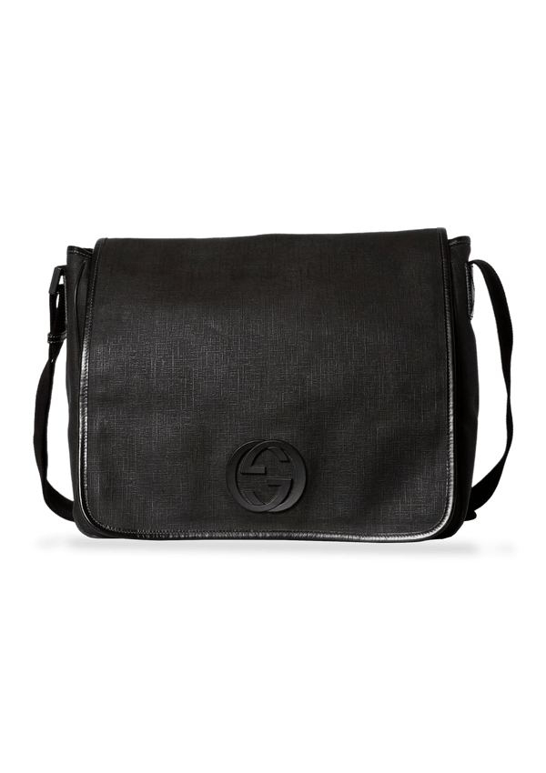 LARGE INTERLOCKING GG MESSENGER BAG