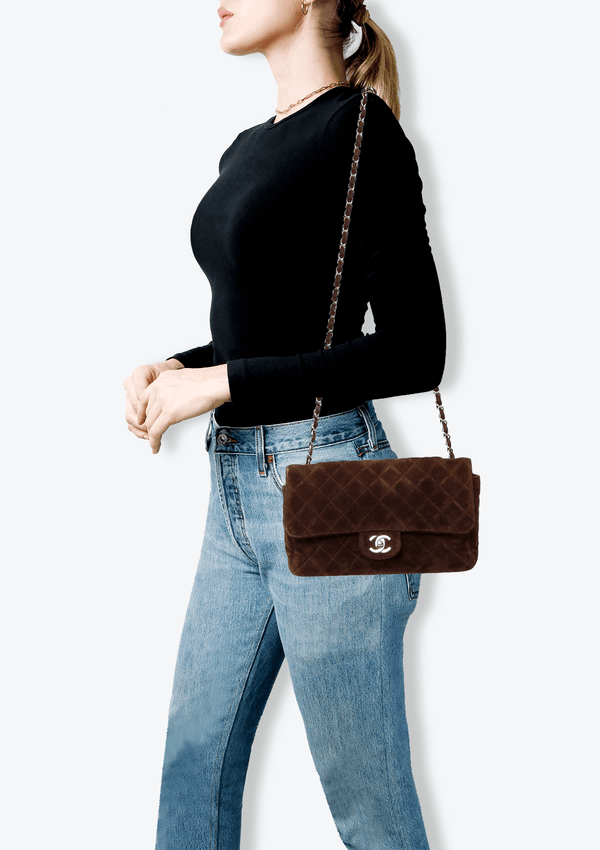 MEDIUM SUEDE SINGLE FLAP BAG