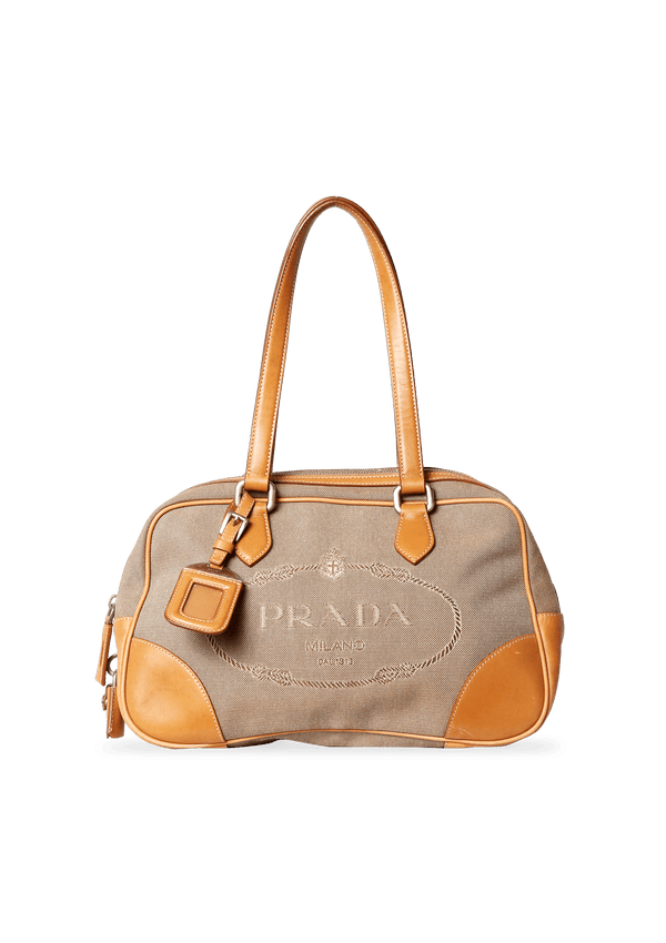 TAN JACQUARD LOGO BOSTON BAG