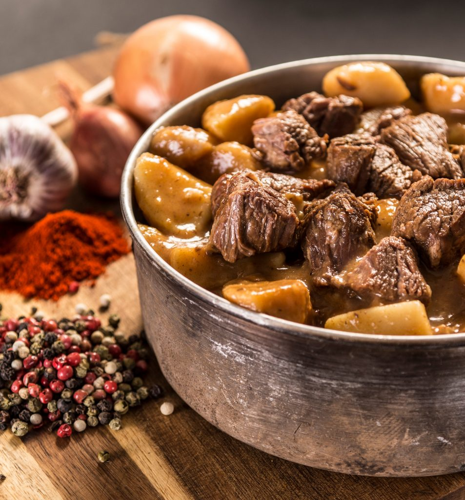 Beef goulash with boiled potatoes