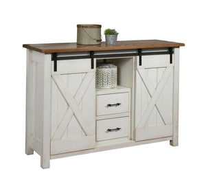 Rustic White Barn Door Server With Two Tone