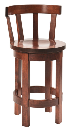 Low Back Barrel Bar Stool With Swivel