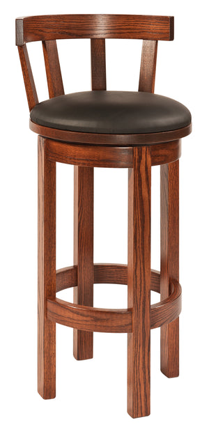 Low Back Barrel Swivel Bar Stool with Upholstered Seat
