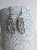 Wispy Feather Earrings with Turquoise-Green Patina (AL441)