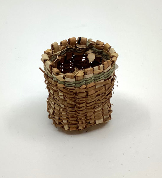 Cedar Basket with Green Thread Accent
