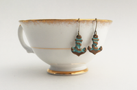 Bronze Anchor Earrings with Turquoise-Green Patina (AL427)