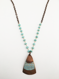 Triple Layer Bronze Necklace with Opal Chain (AL543)