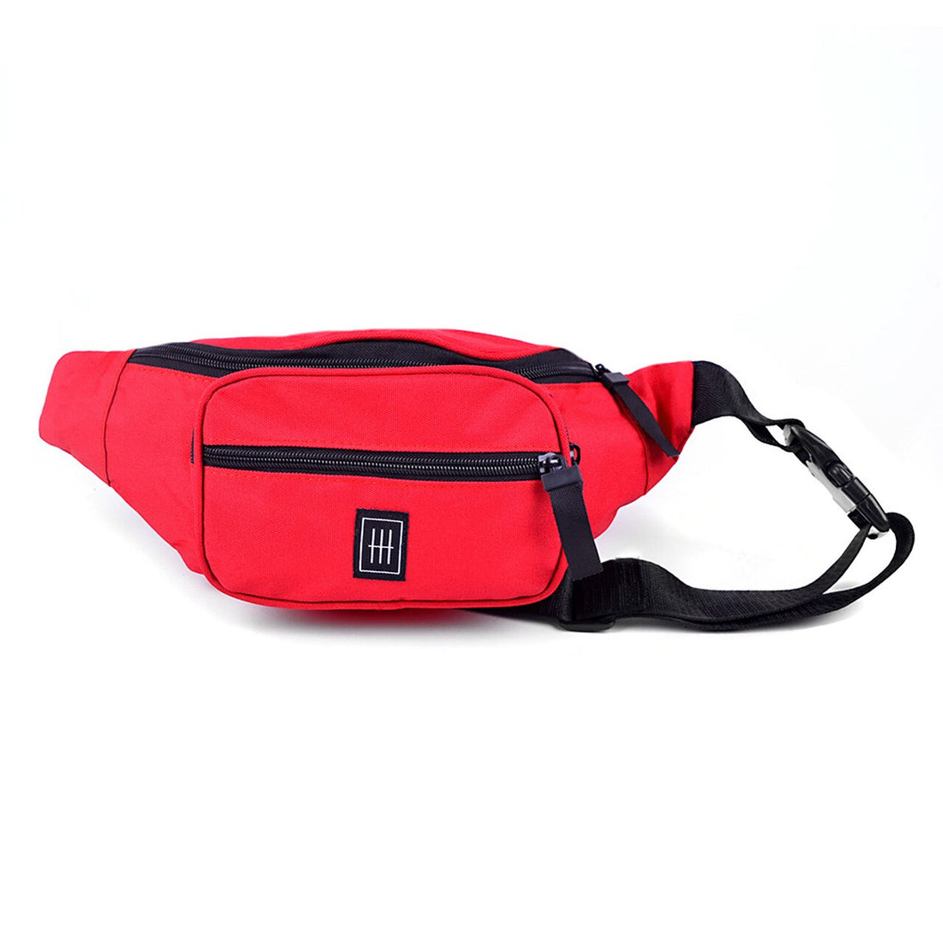 Red multi compartment fanny pack